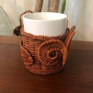 Wicker Rattan Owl Coffee Mug Vintage Boho